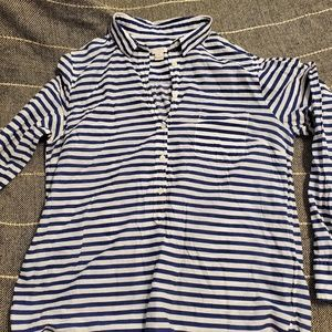 JCrew Navy and White Striped Top